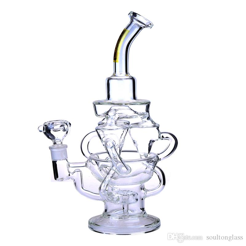 Recycler Glass Bong Dab Oil Rigs awesome triple cyclone inline arm heady bongs gear perc water pipes rig bowl quartz banger purple pipe