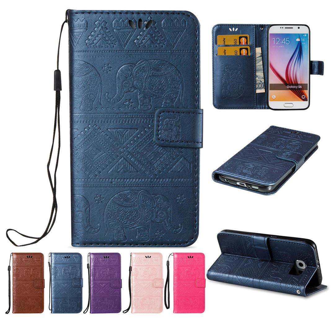 Hard Wallet Cases For Samsung Galaxy S6 Soft PU Leather Cover with Flip Buckle Pounch Card Slot Empaistic Cute National Little Elephant