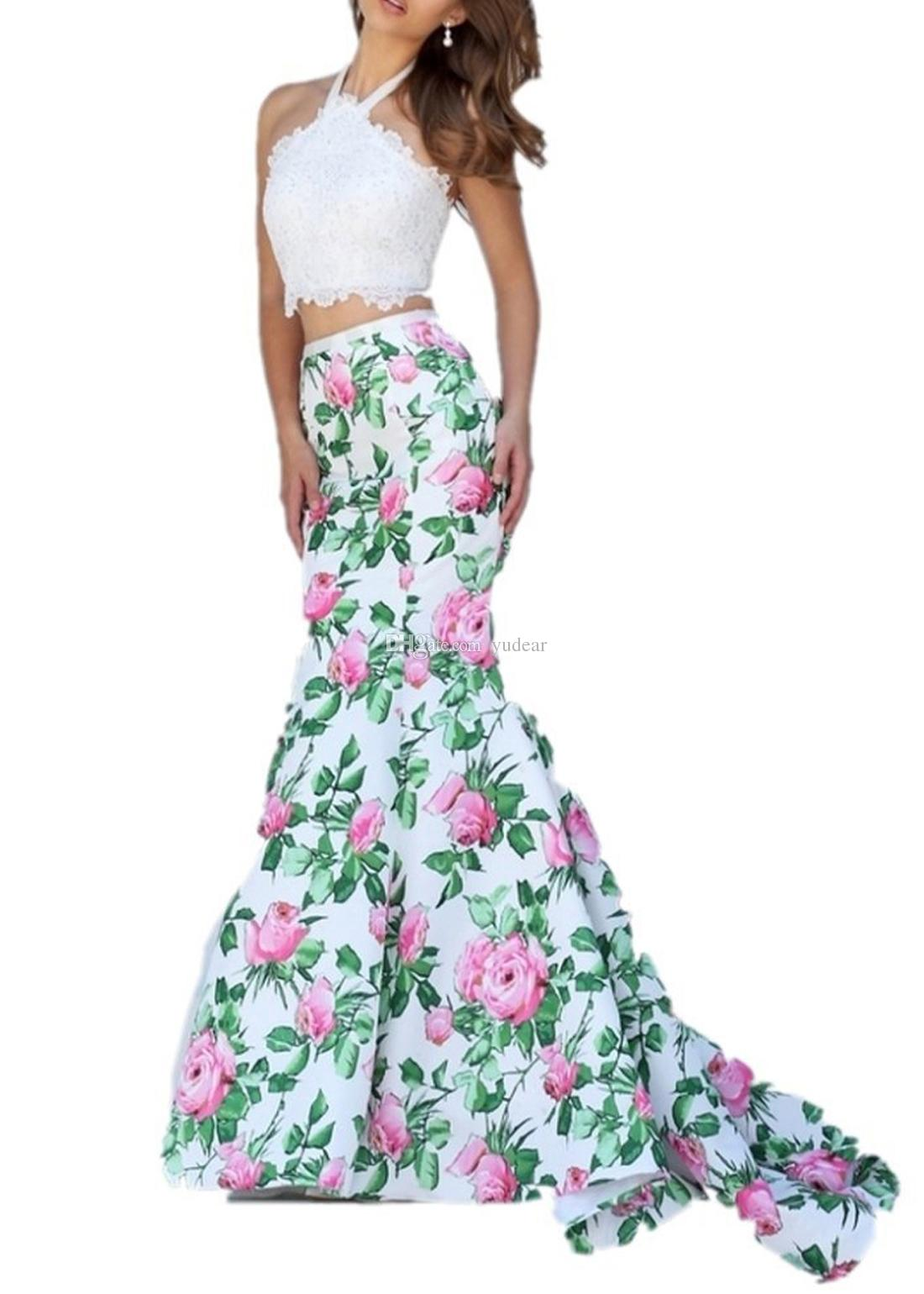 2019 Sexy Halter Neck Two Pieces Women Prom Dresses Sleeveless Lace Appliques Mermaid Evening Gown Long Formal Flowers Print Skirt for Party