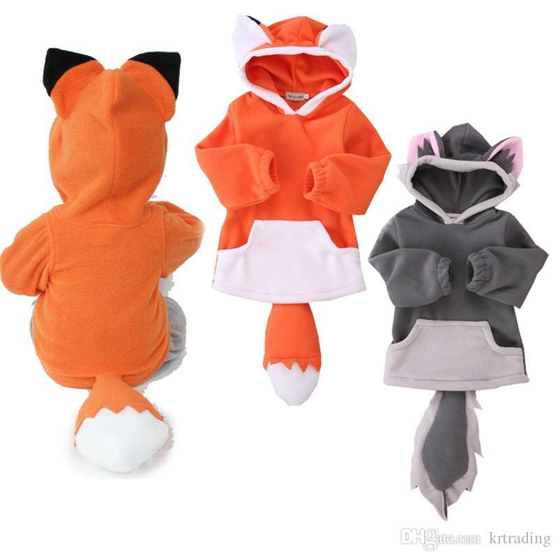 لطيف الاطفال الكرتون الحيوان هوديي القطبية ابتزاز معطف 2 ألوان الكرتون الذيل فوكس مقنع البلوز ل 1-3 طن الفتيان الفتيات