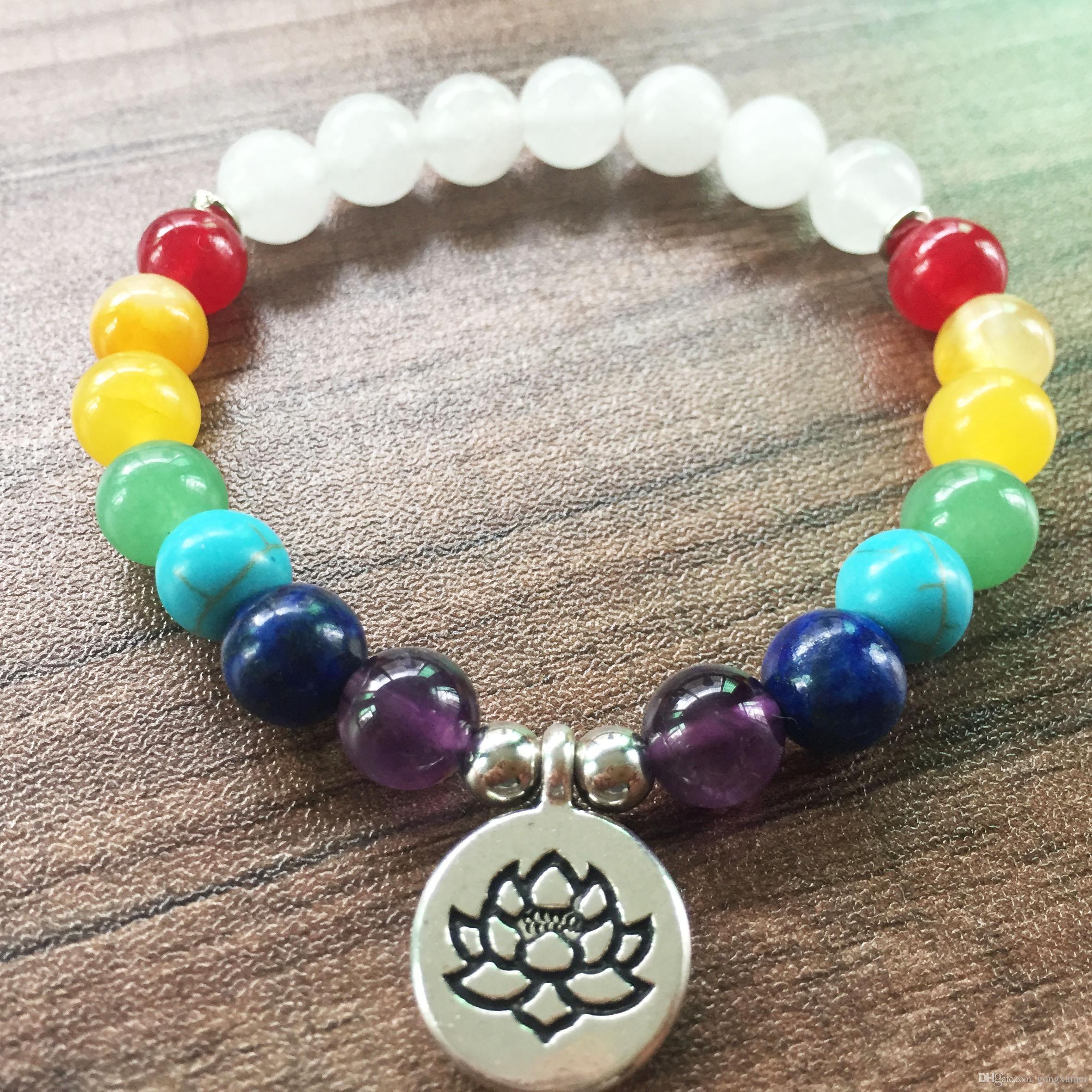 8mm Lava Stone White Jade OM Pendant Mala Bracelet Chakra Meditation
