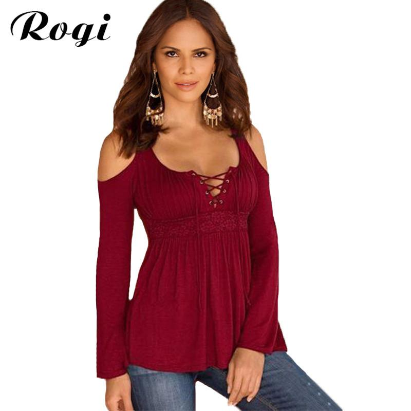 All'ingrosso- Rogi V-Neck Lace T-Shirt da donna 2017 Sexy Off Spalla Jumper Tunica Top femminile Casual Fasciatura T Shirt Camisetas Mujer Plus Size