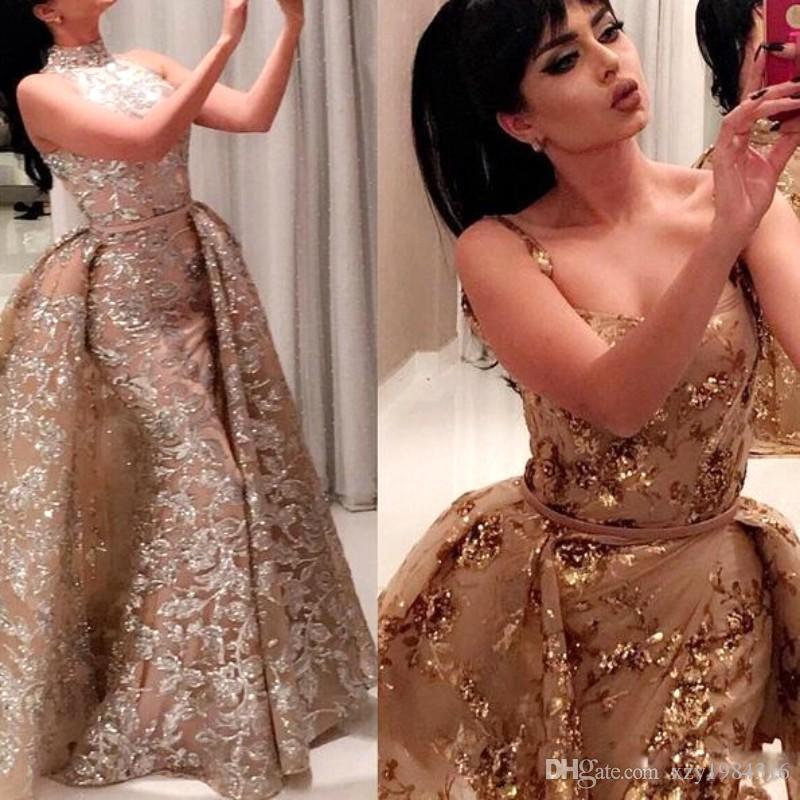 2017 con encanto brillo mermiad vestido de fiesta con extracción desmontable dos estilo lentejuelas de lentejuelas apliques largos vestidos de noche vestido de alfombra roja
