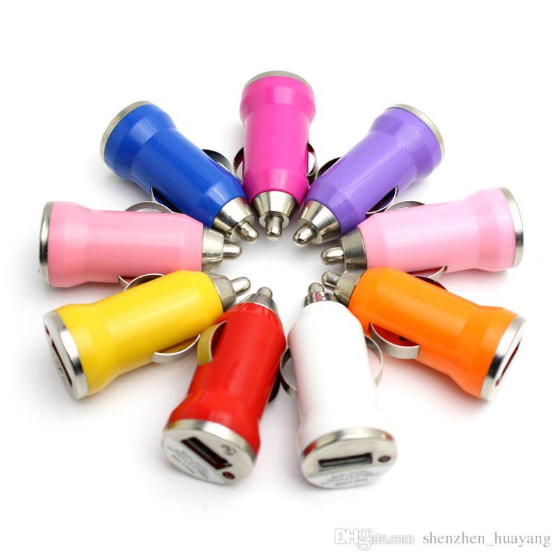 Carregador de carro 200pcs / lot USB Colorful Bala Mini Carga Car Carregador Portátil adaptador universal para telefone inteligente uinversal frete grátis