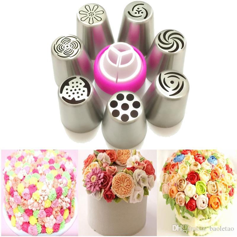 7pcs ensemble acier inoxydable russie tulipe glaçage tuyauterie convertisseur de buse de décoration de gâteau conseils de cuisson outil