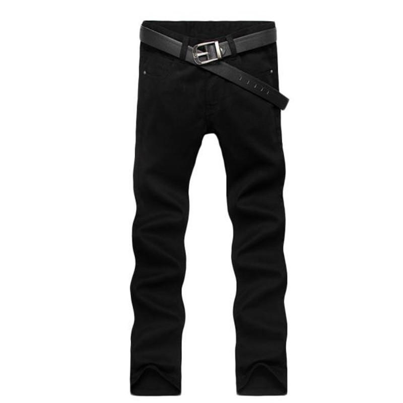 Toptan-Dört Sezon Erkek Kot İnce Düz Pantolon Siyah Renk Kot Erkek Pantolon