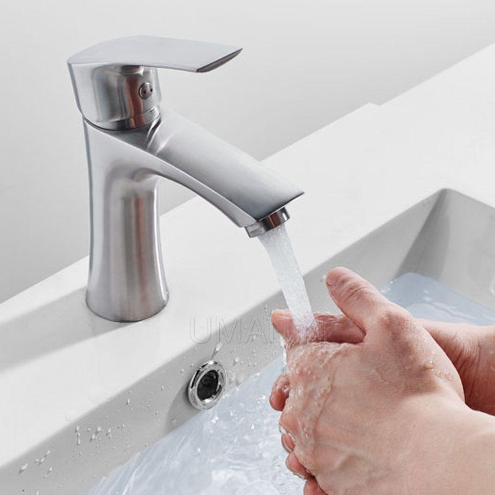 Moderno 304 bagno in acciaio inox rubinetti rubinetti nichel spazzolato singola maniglia monoforo caldo miscelatore freddo deck mounted lavabo rubinetti SSMP015