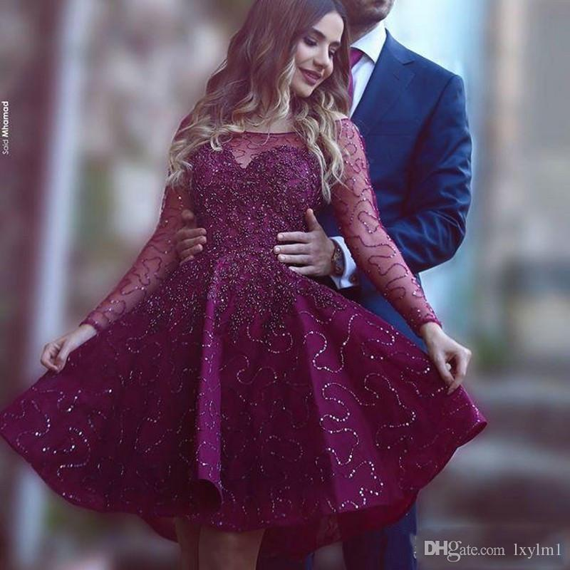 Charming All Gown Puffy Dark Purple Lace Prom Dresses 2017 Sheer ...
