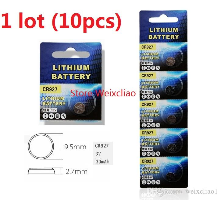 10pcs 1 lot CR927 3V lithium li ion button cell battery CR 927 3 Volt li-ion coin batteries Free Shipping