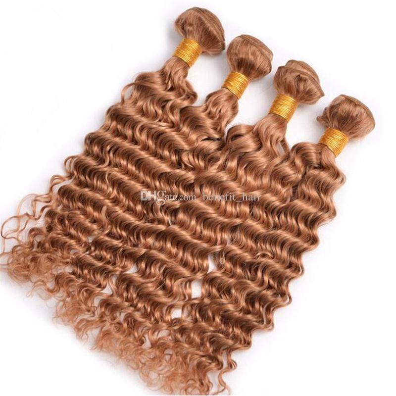 Cheveux blonds miel brésilien # 27 vague profonde 4pcs / lot trame cheveux bouclés # 27 extensions de tissage cheveux blonds fraise 10-30 ''