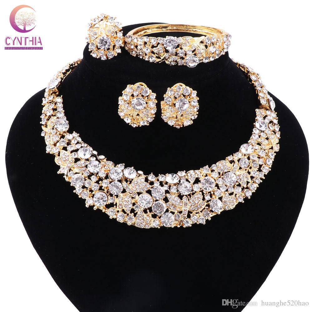 Kadınlar Altın Kaplama BOHO Kristal Takı Setleri Küpe Doğrudan Satış Bildirimi Kolye Parti Düğün Kolye 2017 Için
