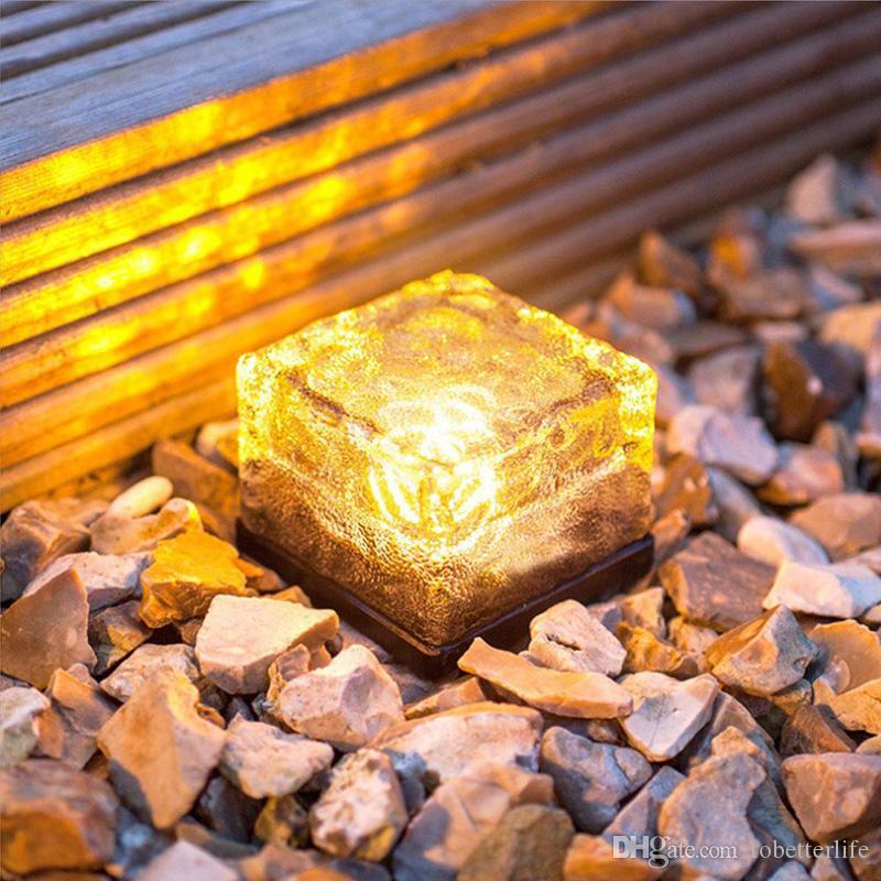 Led solar lamp ice brick ground light cube shaped solar garden light multi colors wireless undergroud lawn lamp white blue