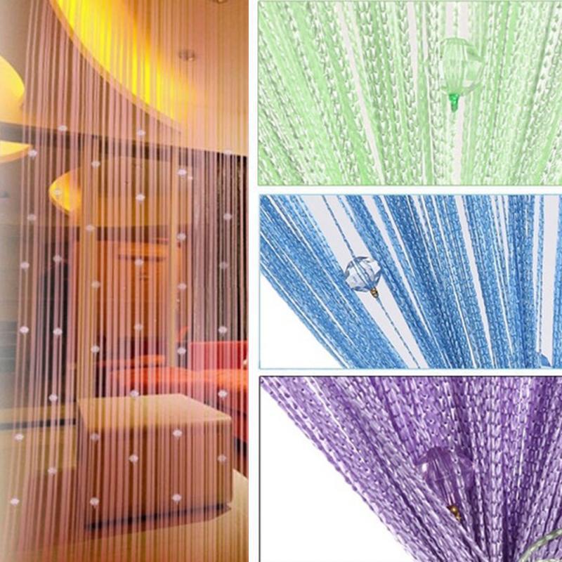 Al por mayor-1 * 2 m hogar cortina de la puerta cuerdas de cuentas de cristal franja cortina de la secuencia romántica sala de estar dormitorio decoración de la ventana