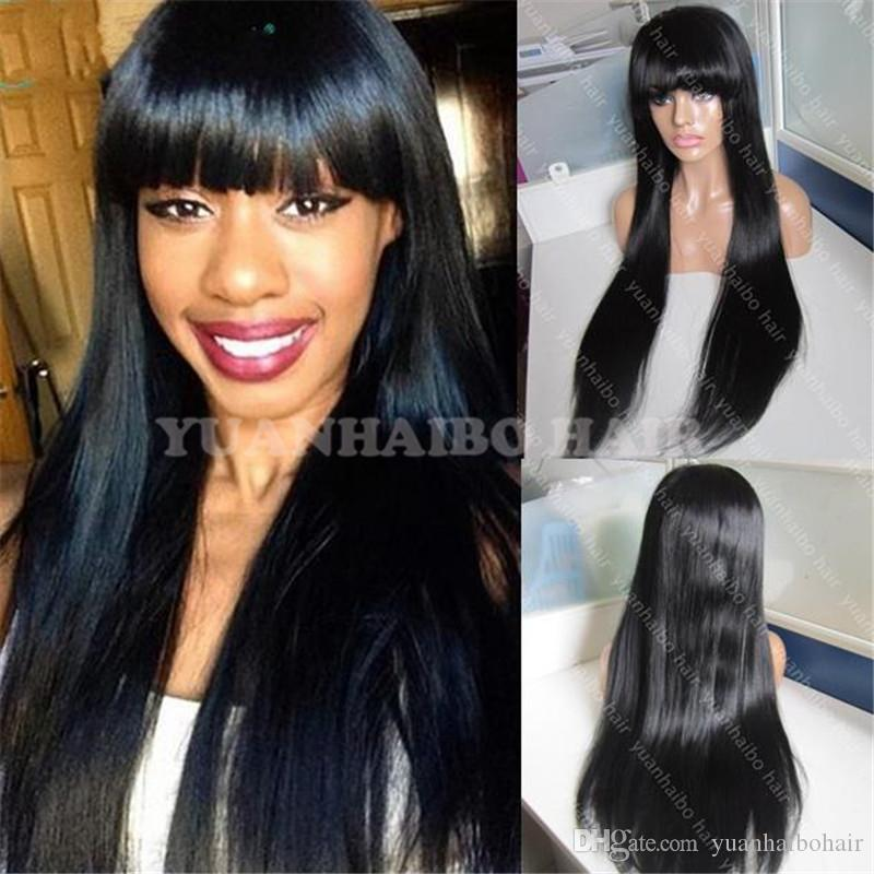 celebrity wig front lace wig virgin brazilian human hair straight full lace wig with bangs for black woman free shipping