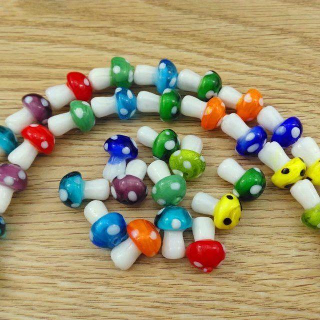 Fancy- DIY Acessórios Glass Beads Solto Pingentes Colorido Cogumelo Bonito Para Diy Jóias Fazendo