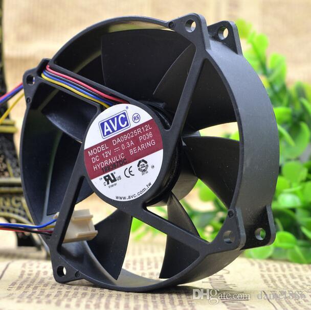 AVC 9 CM circular 9025 0.3A 12 V DA09025R12L CPU 4 Linha de controle de velocidade Silencioso ventilador de refrigeração