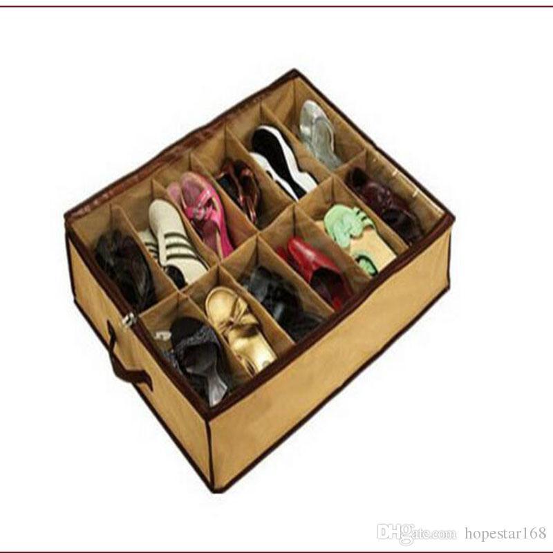 Ana Sıcağı Çevre Dostu 12Pair Bezi Kumaş Ayakkabı Depolama Organizatör Tutucu Ayakkabı Organizer Kutu Dolap 67 * 56 * 15cm kutu ues