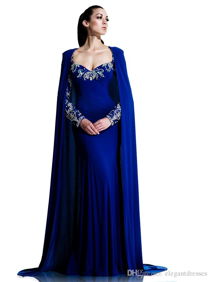 Royal Blue Mermaid Dubai Cape Evening Dress 2017 Party Sexy Long Sleeve Saudi Arabic Prom Dresses Sweep Train Formal Pageant Gowns Black Evening Dress
