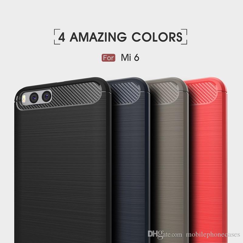 10 UNIDS Casos Bolsa de Teléfono Para Xiaomi Mi6 Fibra de Carbono de alta resistencia caja de la armadura a prueba de golpes para Xiaomi Mi6 2017 venta caliente Envío gratis