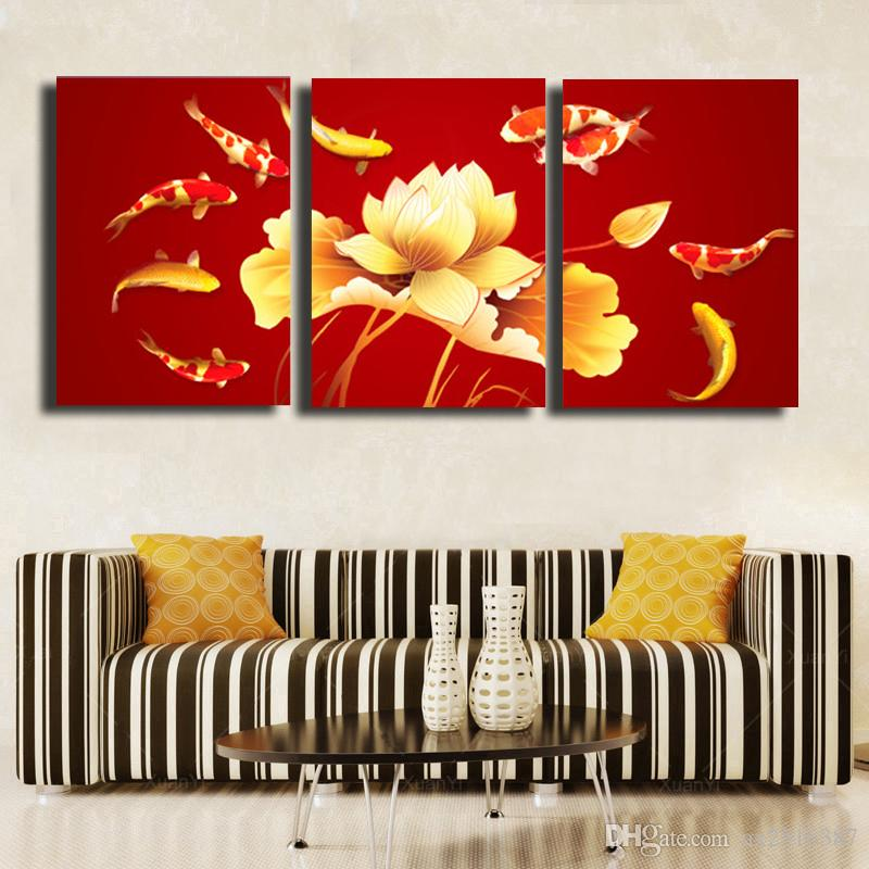 3 Pcs/Set golden fish HD Picture Canvas Print Painting Wall Art For Wall Decor Home Decoration Cheap Artwork #52