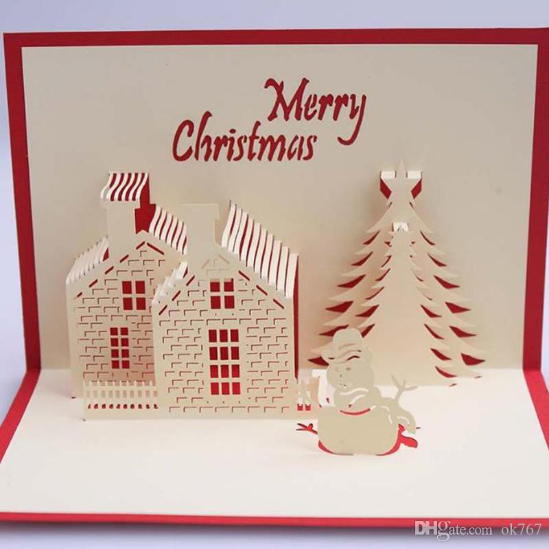 Custom Christmas Cards.Christmas Cards 3d Pop Up Merry Christmas Series Handmade Custom Greeting Cards Christmas Gifts Souvenirs Postcards Customized Christmas Cards