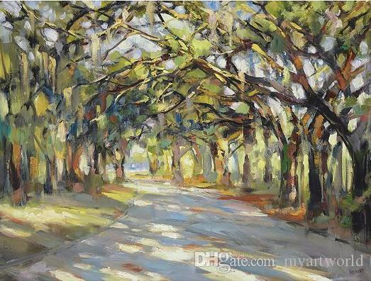 Southern Oaks Art Pure Handpainted Landscape Art Oil Painting On High Quality Canvas Any Customized Size Accepted Graphic Wall Decals Headboard Wall