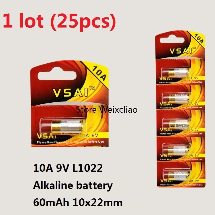 25pcs 1 lot 10A 9V 10A9V 9V10A L1022 dry alkaline battery 9 Volt Batteries replace A23L card VSAI Free Shipping