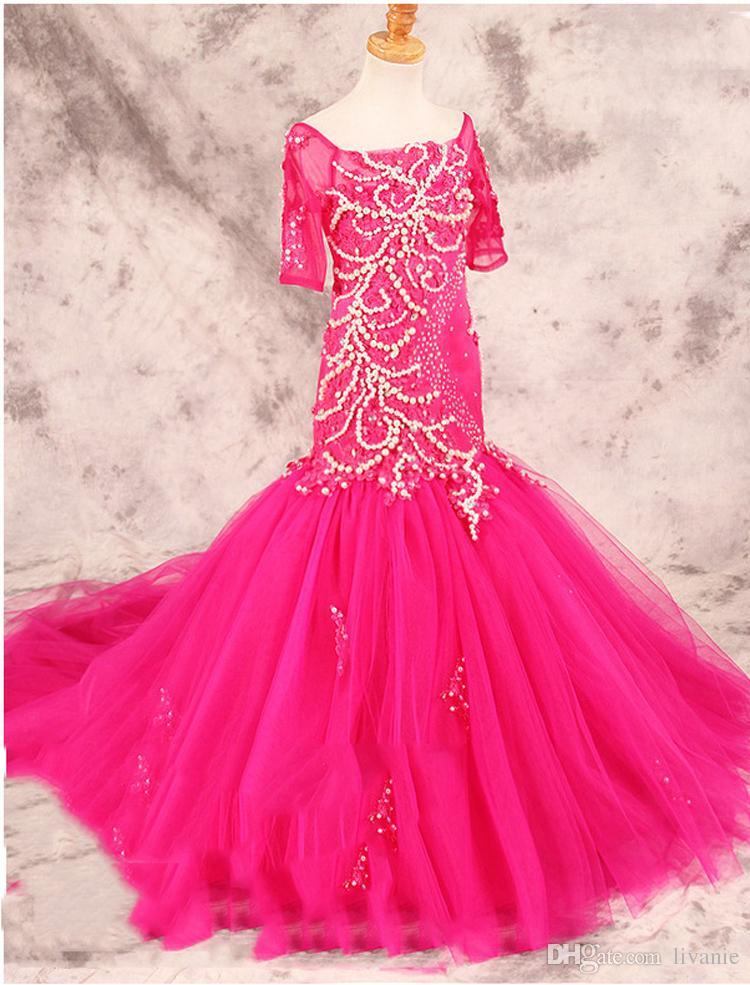 F22 Luxury Pearls Lace Mermaid Flower Girls Dresses For Weddings ...