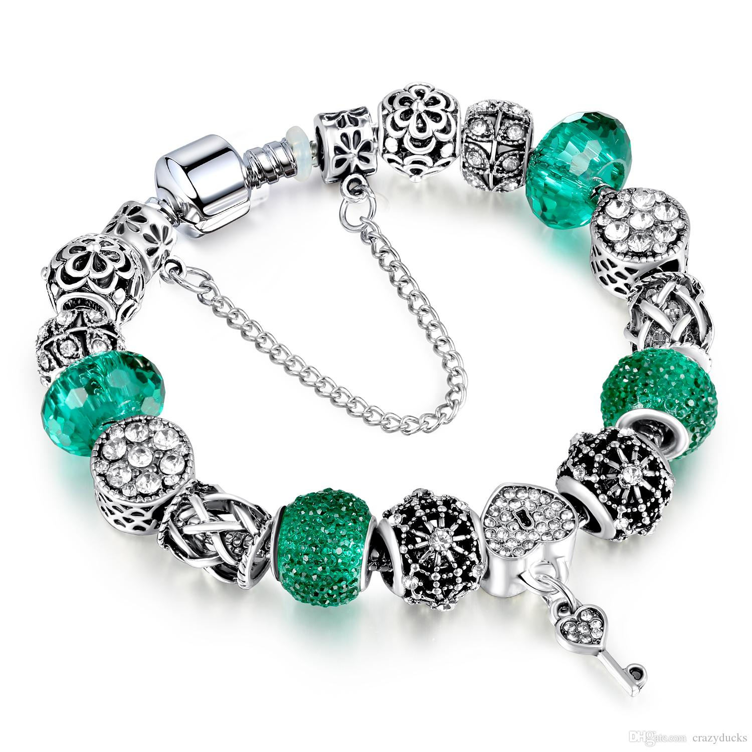 European Silver Bracelet Allow Silver Plated Bead With Green Crystal Charm Bracelet With Luxury Glass Beads for Women Jewelry AA114