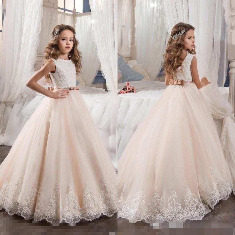 2017 Country Flower Girl Dresses For Weddings Blush Pink