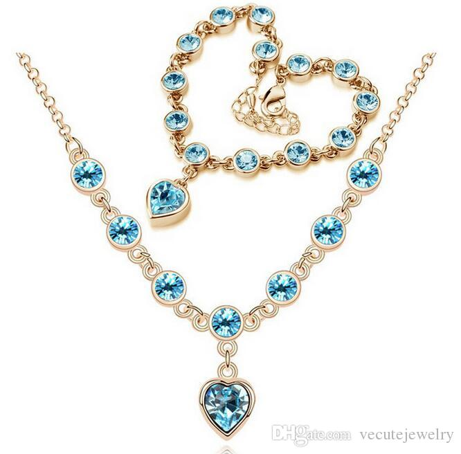 18K Gold Silver Plated Swarovski Crystal Heart Charm Necklace Bracelet Jewelry Set for Women Wedding Jewelry Sets for Sentsive Person