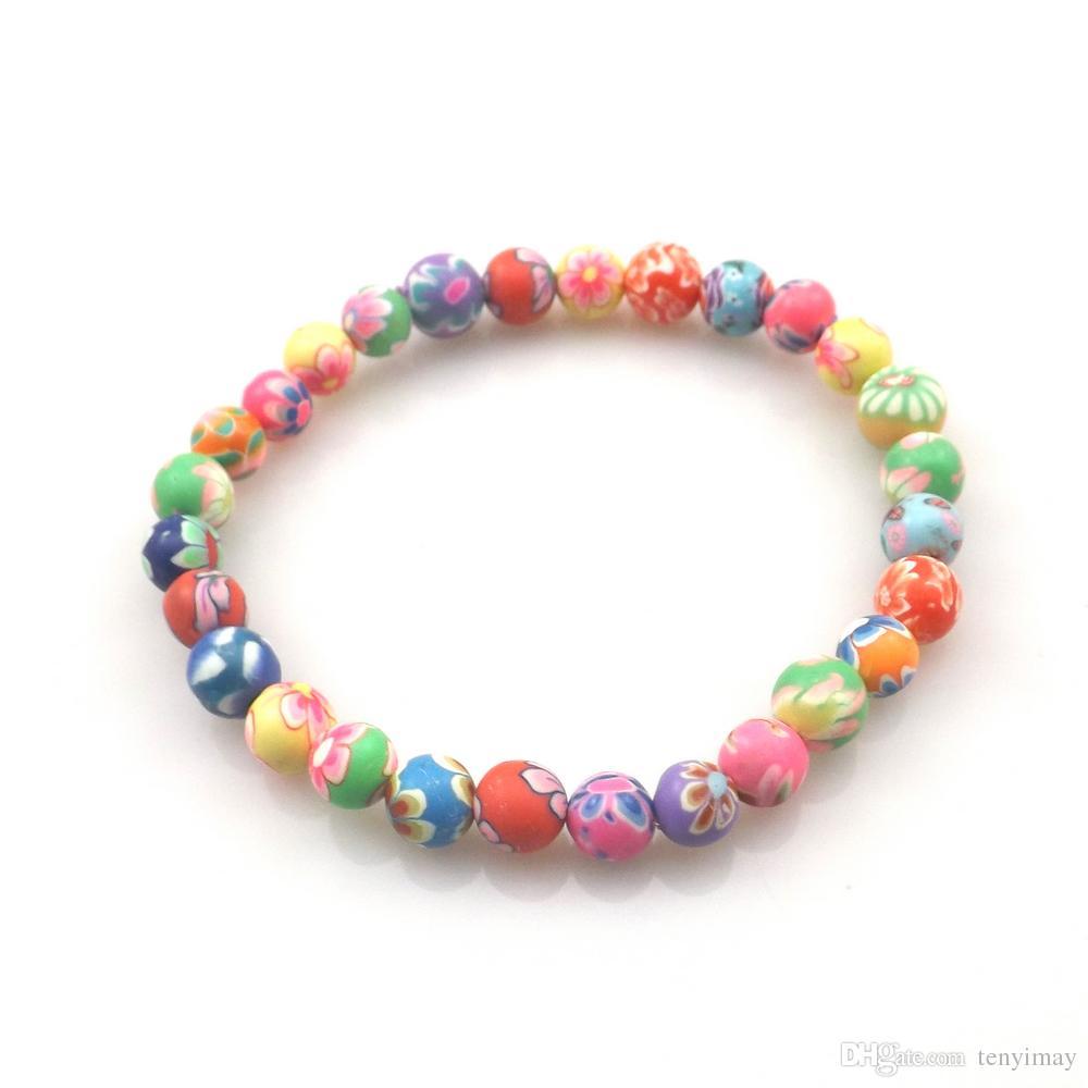 Kids Printed Beaded Bracelet 6mm Polymer Clay Bracelets For School Children 20pcs/lot Wholesale Free Shipping