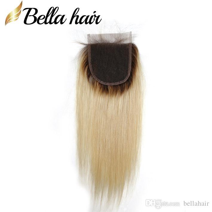 金髪のレースの閉鎖織り人間の髪の閉鎖のための無料パート4x4#1b / 613在庫のベラの髪の赤ちゃんの髪と絹のようなストレートの閉鎖