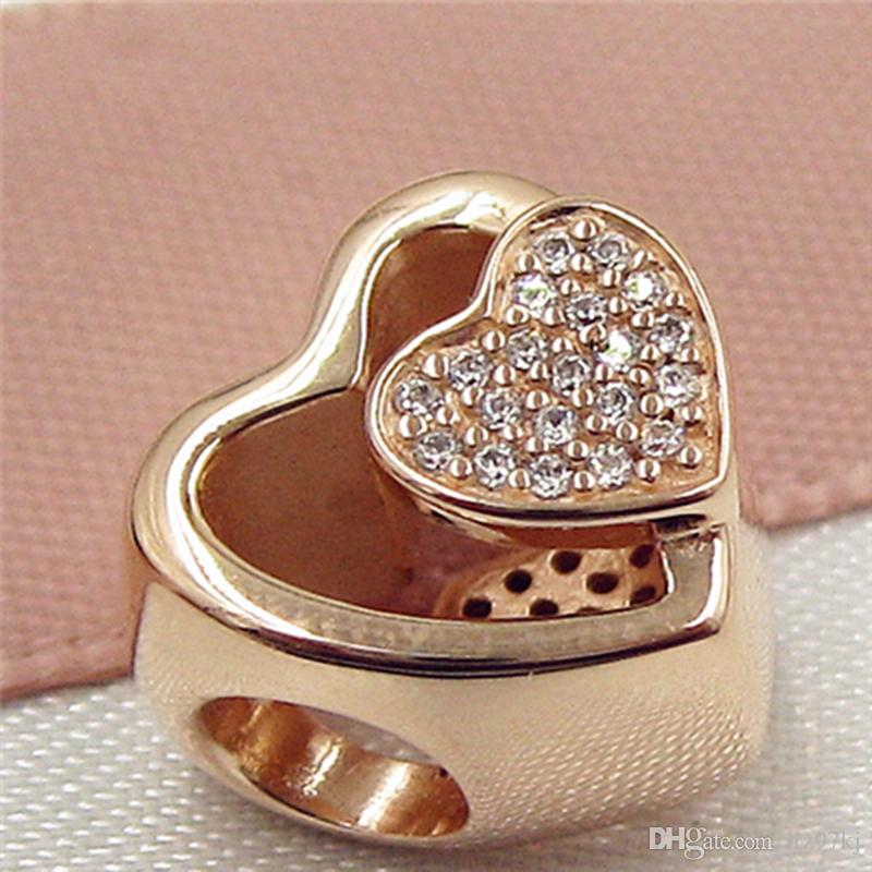 Rose Gold plated Joined Together Charm Bead with Clear Cz Fits European Pandora Jewelry Bracelets & Necklaces Necklaces & Pendants
