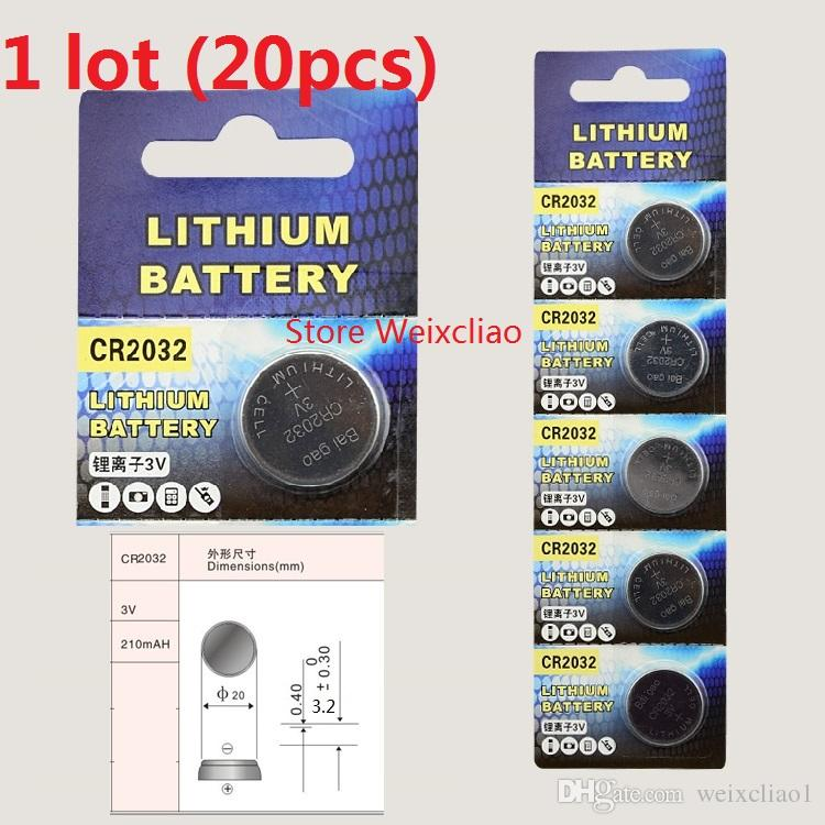 20pcs 1 lot CR2032 3V lithium li ion button cell battery CR 2032 3 Volt li-ion coin batteries Card Free Shipping