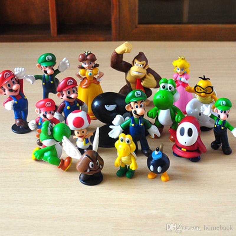 """18PCS / Set Mini nette Figuren 3,5cm-6cm 1 """"-2,5"""" 2,5-Zoll-2.5"""" PVC Super Mario Bros Figur Aktion Spielzeug-Puppe für Kinder"""