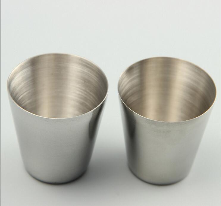 All'ingrosso-30ml Bicchierini portatili in acciaio inossidabile Bicchieri per birra Bicchierini per bere all'aperto