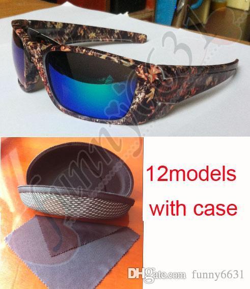 MOQ=10SET Newest Camo Brand beach Sunglasses Mossyoak Realtree sun glasses Eyewear Sun glass frame camouflage sunglasses with zipper case