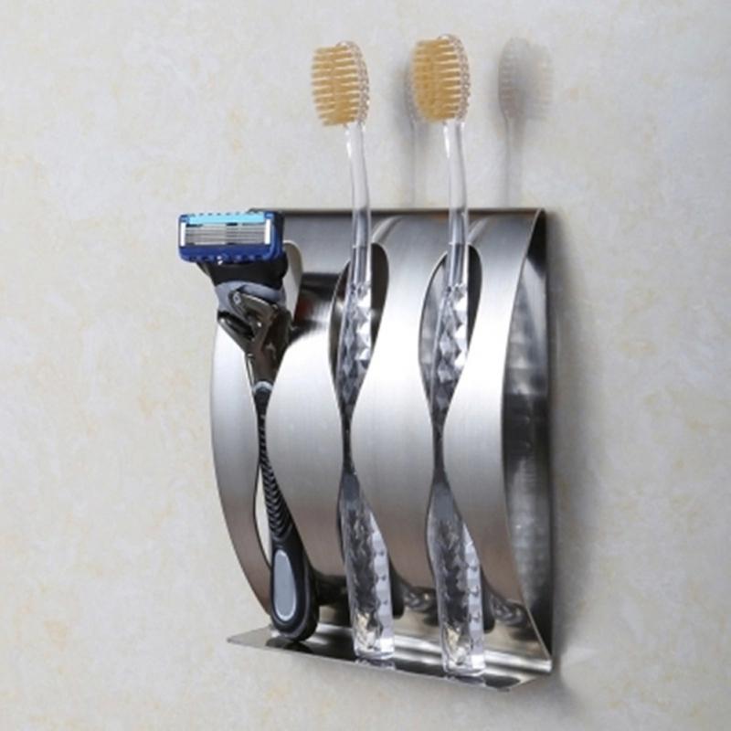 الجملة ، الفولاذ المقاوم للصدأ جدار جبل فرشاة الأسنان حامل 2،3 ثقوب ذاتية اللصق فرشاة الأسنان المنظم صندوق اكسسوارات الحمام