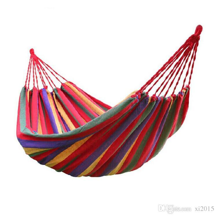 Travel Camping Hammock Кемпинг Спящая кровать Путешествия Открытый качели Сад Крытый сон Радуга Цвет Холст Гамака WA4142
