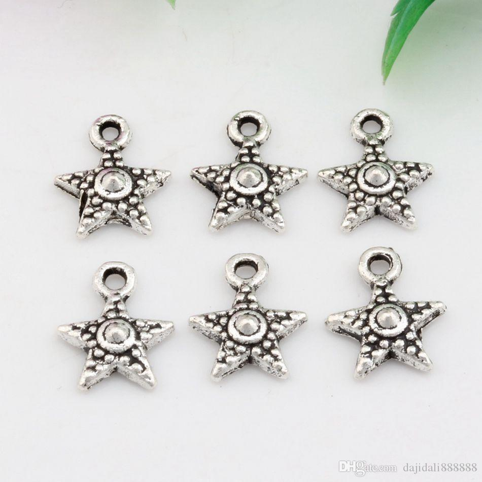 Vente chaude ! 500 pcs vieilli argent zinc alliage simple face charmes d'étoile pendentifs 10 mm x 12 mm bricolage bijoux A-025