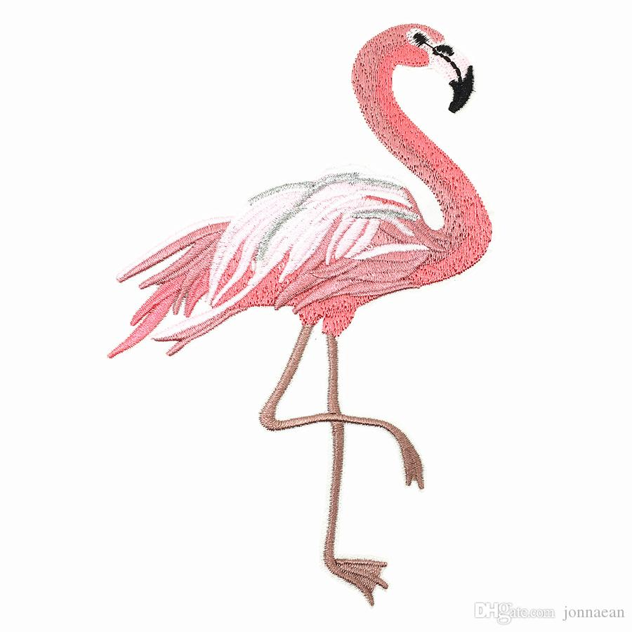 5pair 10x15cm Iron On Embroidered Flamingo Patch Pink Birds Applique Embroidery Patches For Clothing Jacket Jean Dressing shoe
