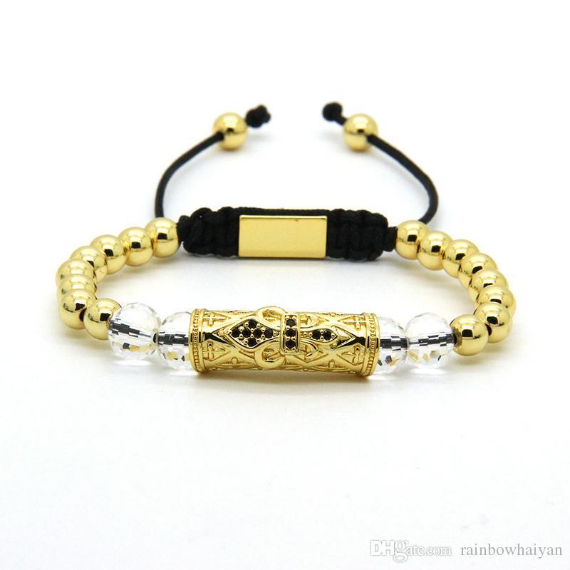 Leistungsstarke Schmuck Großhandel Beste Qualität 6mm Gold Messing Perlen mit Schwarz Cz Big Heart Tube Macrame Armbänder