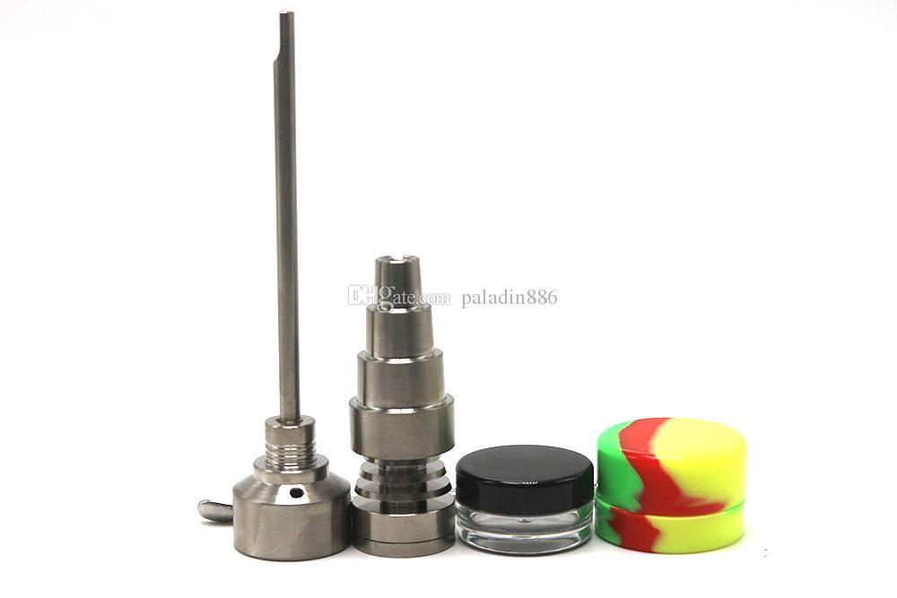 Bong Aracı Set 10/14 / 18mm Domeless GR2 Titanyum Tırnak Carb Kap Dabber Slicone Jar Cam Bong Sigara Su Boruları