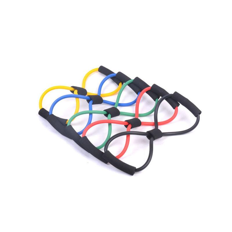Light Figure 8 Ultra Toner Resistance Band Exercise Cords for Yoga Workout Body Building Home Gym with Heavy Duty