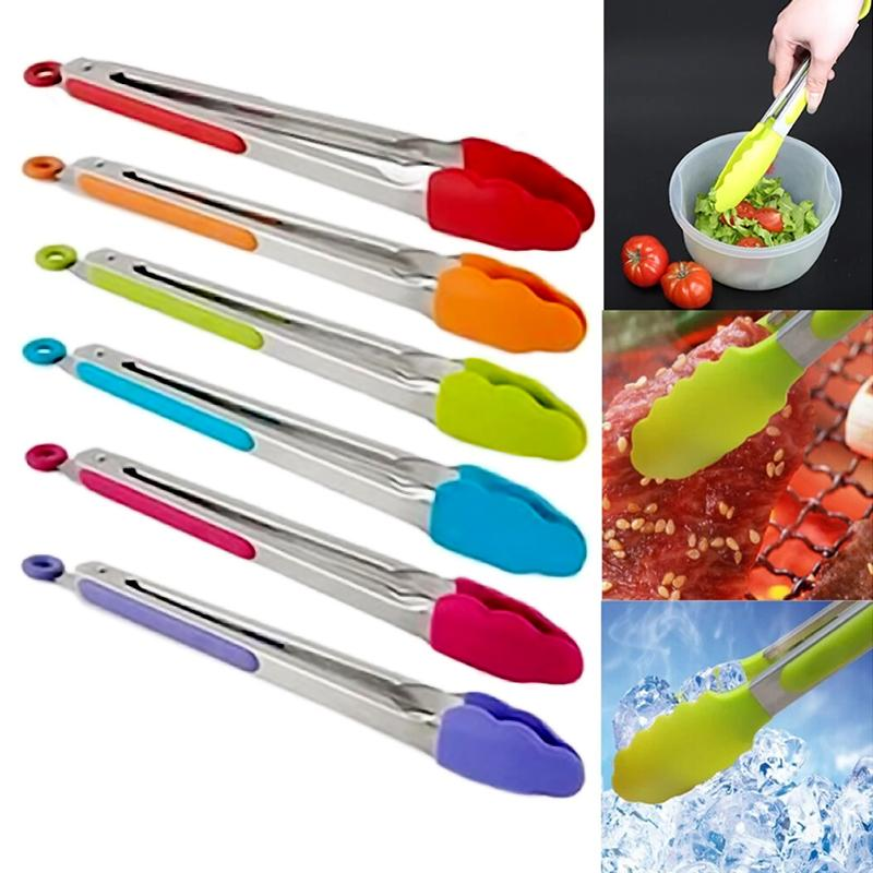 Stainless steel Plastic Kitchen Tongs BBQ Clip Salad Bread Serving Tongs Kitchen Cooking Salad Serving ZH881