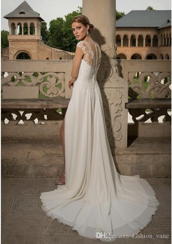 bohemian country wedding dresses lace appliques sheer lack illusion ...