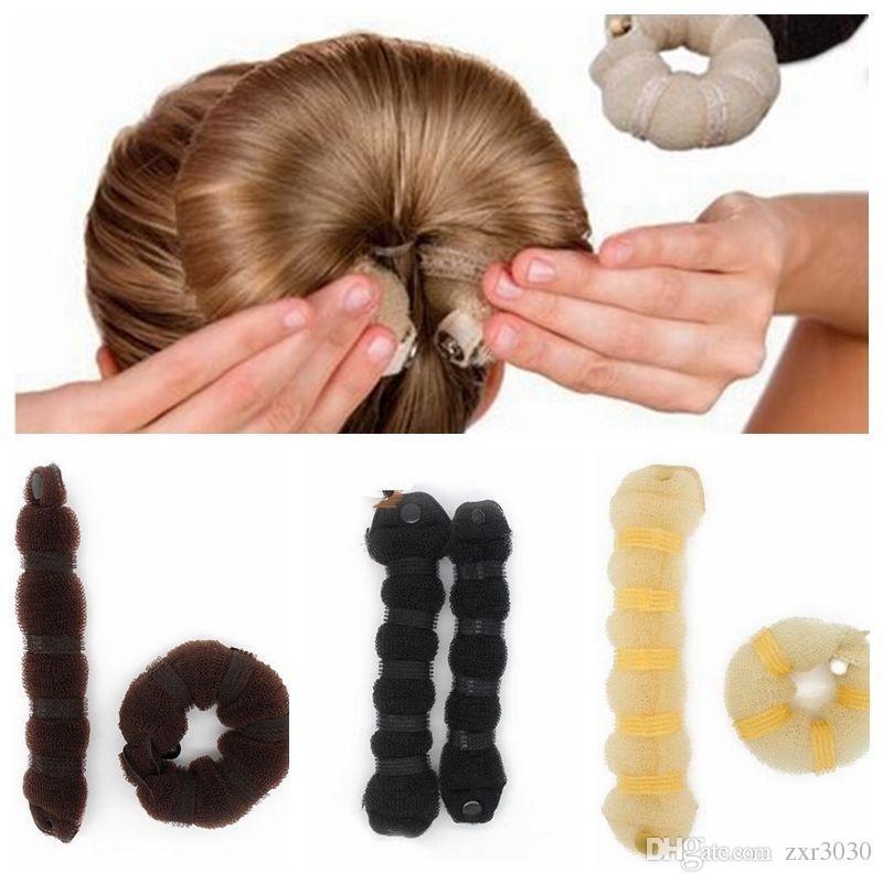 2 pcs = 1 set Femmes Fille Style Magique Coiffure Outils Brioches Braiders Curling Chapeaux Corde À Cheveux Bande De Cheveux Accessoires
