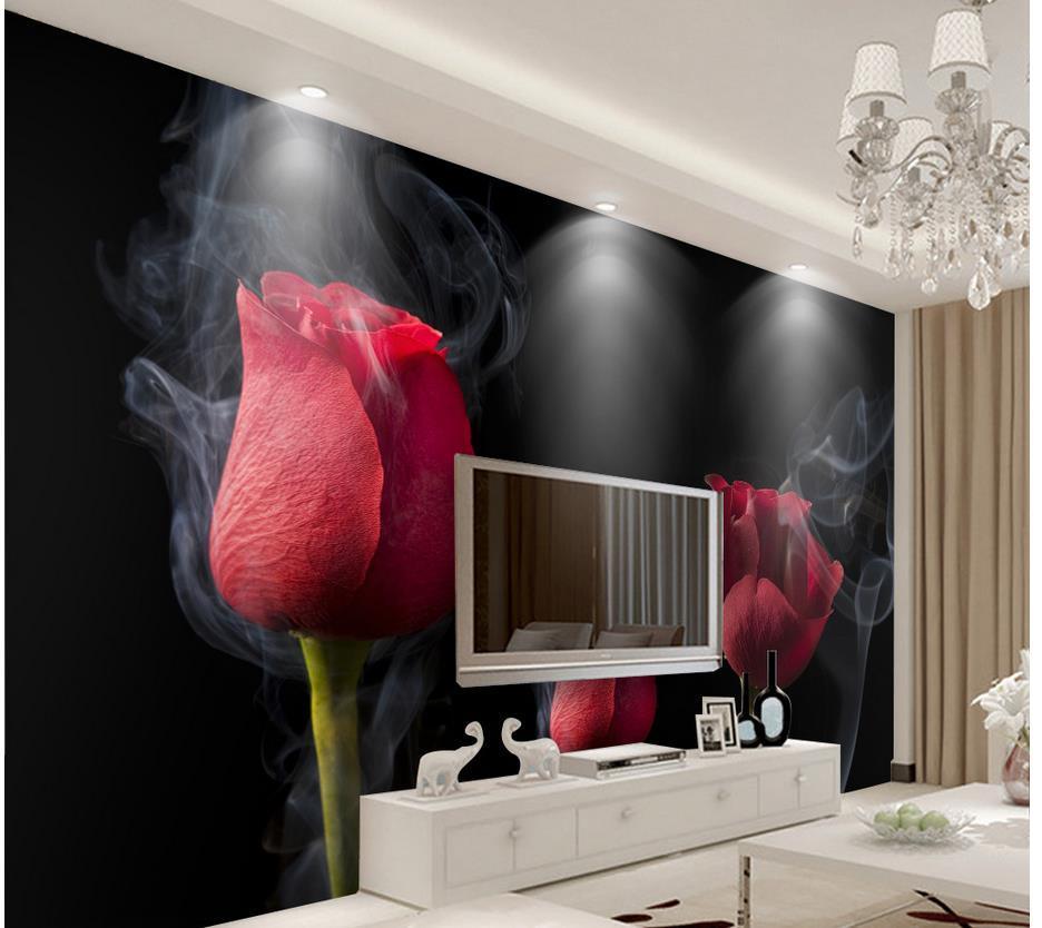 Compre New Custom 3d Bela Fumaça Romântica Rosas Vermelhas Papel De Parede Para Paredes 3 D Para Sala De Estar De Wallpaper20151688 1639