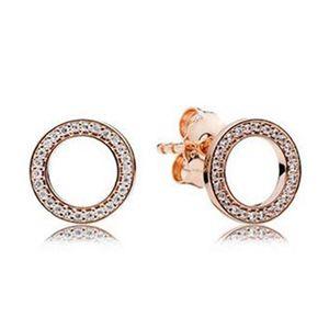 2017 primavera nuovo placcato oro rosa orecchini per sempre con cubic zirconia adatto gioielli fascino europeo pandora